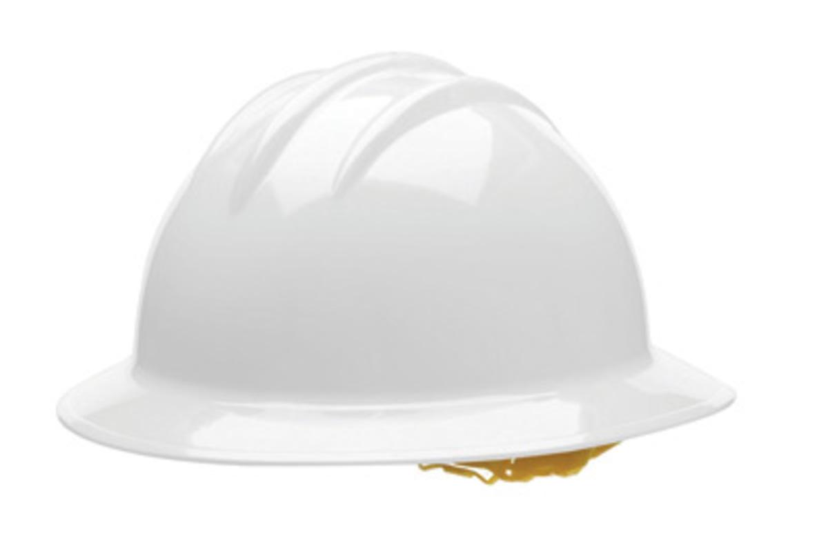 Bullard White HDPE Full Brim Hard Hat With 6 Point Pinlock